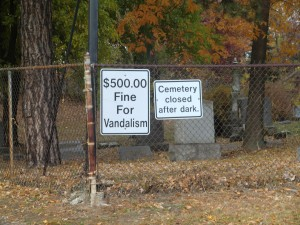 Cemetery closes at 5pm daily